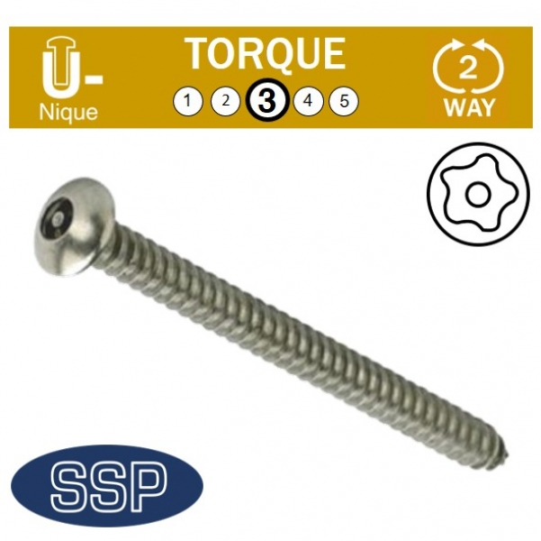 Unique Button Head Self Tapping Tamper Resistant Screws