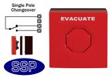 Red Evacuation/Emergency Single Pole Push Button (surface/flush)