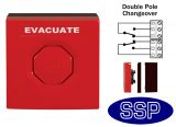 Red Evacuation/Emergency Double Pole Push Button (surface/flush)