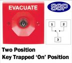 Two Position Key Switch Key trapped in on position (surface/flush mount) Red