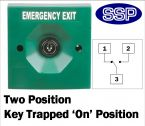 Two Position Key Switch Key trapped in on position (surface/flush mount) Green