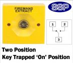 Two Position Key Switch Key trapped in on position (surface/flush mount) Yellow