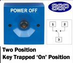Two Position Key Switch Key trapped in on position (surface/flush mount) Blue