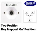 Two Position Key Switch Key trapped in on position (surface/flush mount) White