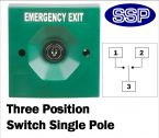 Three Position Key Switch (surface/flush mount) Green