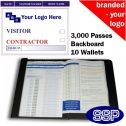 Personalised Contractor and Visitor Book One Colour (3000 Passes)