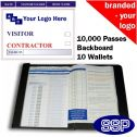 Personalised Contractor and Visitor Book One Colour (10000 Passes)