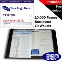 Personalised Contractor and Visitor Book Two Colour (10000 Passes)