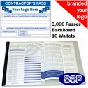 Personalised Contractor Book One Colour (3000 Passes)