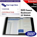 Personalised Contractor and Visitor Pass Book Two Colour (500 Passes)