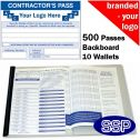 Personalised Contractor Pass Book One Colour (500 Passes)