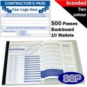 Personalised Contractor Pass Book Two Colour (500 Passes)