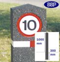 Berkeley Flexible Rubber Moulded Bollard with Sign (150mm x 1m)