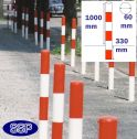 Red and White Sub Surface Steel Barrier Posts (60mm) 1 chain hole