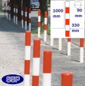 Red and White Sub Surface Steel Barrier Posts (90mm) 1 chain hole