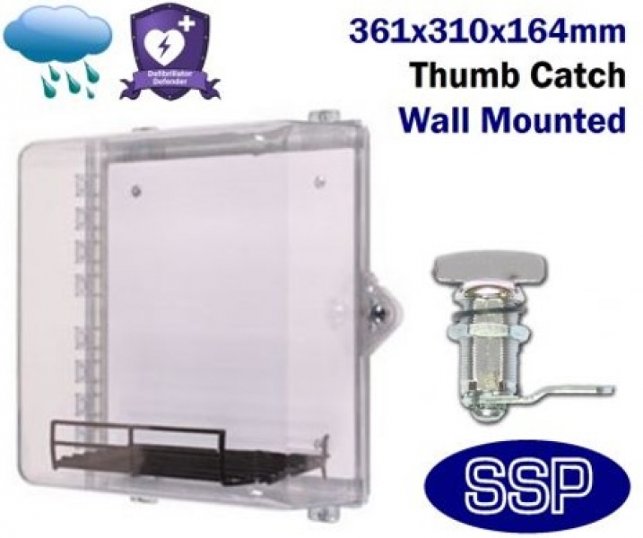 Thumb Locking Clear AED Cabinet