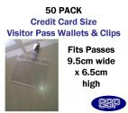 Visitor Pass Wallet and Clips 50 Pack - Credit Card Size