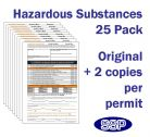 Hazardous Substances Permit to Work Pack of 25 self duplicating sheets