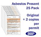 Asbestos Present Permit to Work Form Pack of 25 Self duplicating sheets