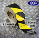 Conformable Aluminium backed Abrasive Anti-slip tape (Black/Yellow) 50mm x 18.3m