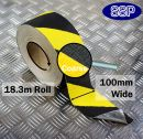 Conformable Aluminium backed Abrasive Anti-slip tape (Black/Yellow) 100mm x 18.3m