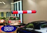Hanging Vehicle Height Restrictor bar - Red and White Plastic