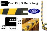Rounded Corner Push Fit Bump Protection Foam (5 metres long) for I beams, girders and RSJs