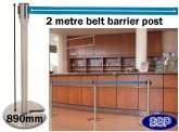 Easy-Stack Retractable Belt Post Barrier Queuing System (M947)