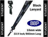 Student Visitor Pass Lanyards (100 pack) Black