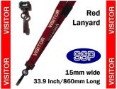 Visitor Pass Lanyards (100 pack) Red