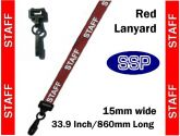 Staff Visitor Pass Lanyards (100 pack) Red
