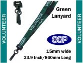 Volunteer Visitor Pass Lanyards (100 pack) Green