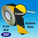 Extra wide 9.1 metre long roll of anti slip tape (black and yellow)