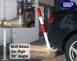 SSP Spring Loaded Barrier Post Bolt Down Red/White