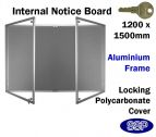 SSP Large Locking Grey Felt Aluminium Notice Board 1200x1500mm