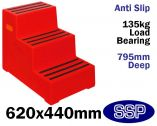 Red Anti-slip Safety Steps | Mobile Equestrian Mounting blocks (Three Steps)