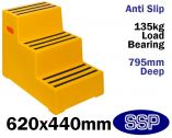 Yellow Plastic Safety Steps | Portable Equine Mounting Steps (Three Step)