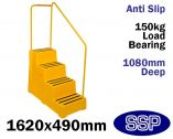 Yellow Industrial Safety Steps | Horse Mounting Block with handrail (Four Step)