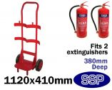 Slim Double Fire Extinguisher Trolley