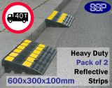 Pair of Reflective Rubber Heavy Duty Car Kerb Ramps for Cars and Lorries