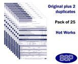 Hot Works Permit To Work Self Duplicating Forms Pack of 25