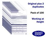 Working at Height Permit To Work Self Duplicating Forms Pack of 100