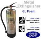 Polished stainless steel foam fire extinguisher (6 litres)