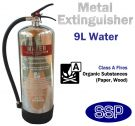 Polished stainless steel water fire extinguisher (9 litres)