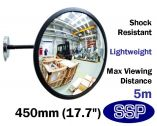 Magnetic Convex Safety Mirror for Steel Walls, Fridges, Machinery and Food Production Areas (450mm)