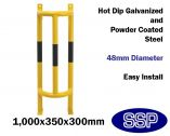 High Visibility Yellow and Black Pipework and Drain Steel Impact Protection Barrier