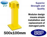 External Modular Vehicle and Pedestrian Walkway barrier (Low level single) 90 degree joining post