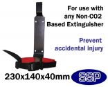 Child-Safe fire extinguisher strapped bracket for nurseries, schools and restaurants (Foam, Water and Powder)