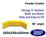 Internal Yellow Steel Protective Guard Rail System Internal Corner