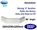 Galvanised Steel Protective Guard Rail System - External Corner